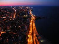 从芝加哥约翰・汉考克中心俯瞰密歇根湖