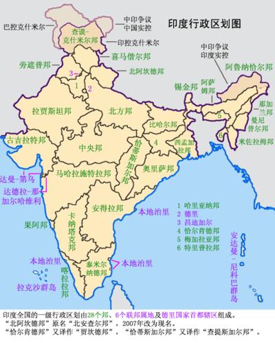 印度行政区划
