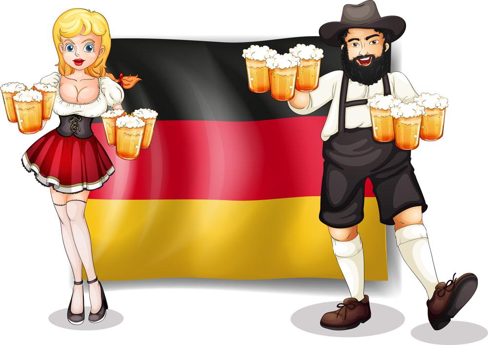德国国旗与卡通人物插画图片图片