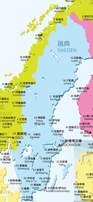 瑞典大学地图
