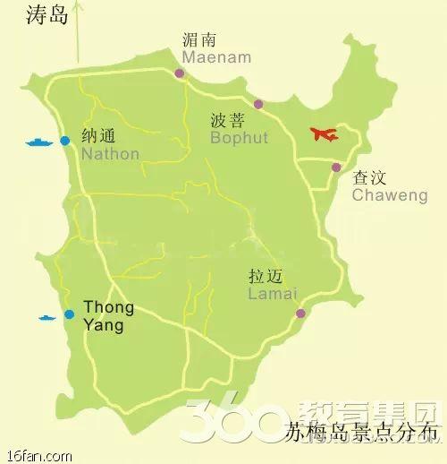 正文    1) 苏梅岛地图   苏梅岛景点分布图   2) 苏梅岛和普吉岛的区
