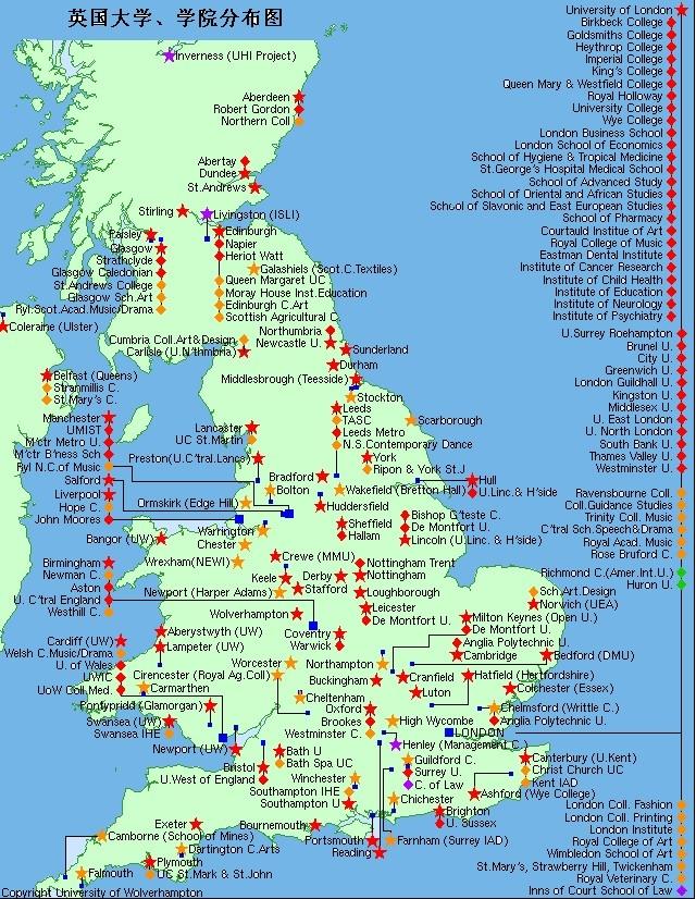 英国大学地图图片