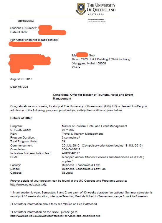 成功拿到澳洲旅游圣地――昆士兰大学旅游管理硕士offer