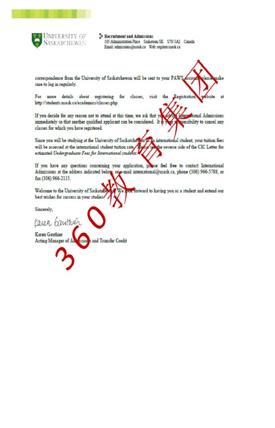 成功案例:朱同学拿到加拿大萨省大学通知书,签证也顺利获签!