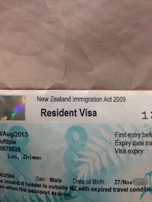 罗智文老师在新西兰工作期间的居住签证