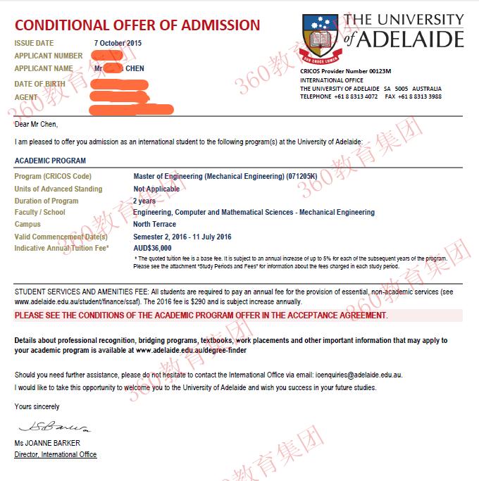 之前有澳洲大学拒信史,涅��重生顺利拿到阿德莱德大学offer