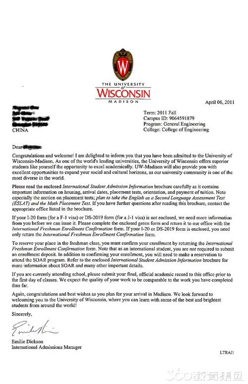 【威斯康辛麦迪逊分校统计专业录取】一封邮件,是你和梦想的距离!
