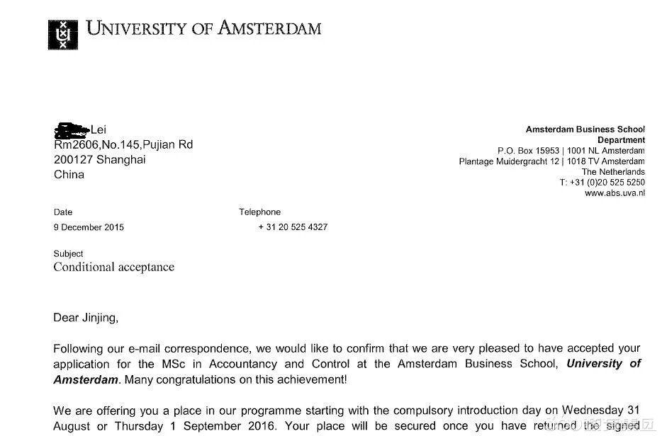 成功案例:恭喜雷同学获得阿姆斯特丹大学的会计硕士课程的录取