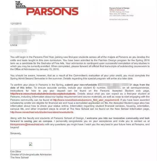 通过不懈努力 张同学如愿以偿获的Parsons服装设计专业Offer
