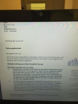 蓝同学成功录取汉堡国立音乐学院